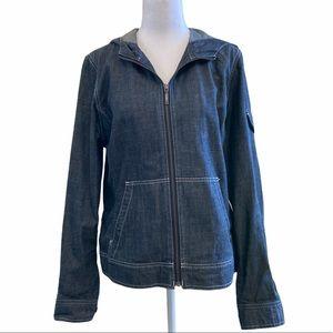 EDDIE BAUER Jean Hooded Zip Up Denim Jacket MED